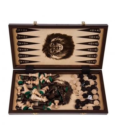 XXL Schach Backgammon Dame Holz Holzkoffer Tavli Spiel Gesellschaftsspiel LEGELE
